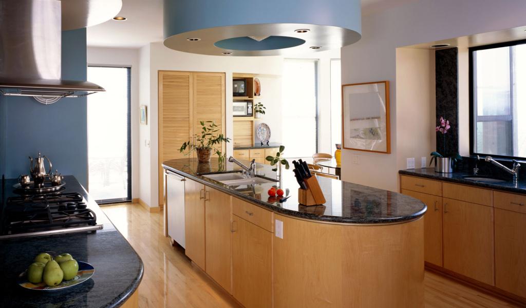 Beautiful Design Of Modern Kitchen Desktop Wallpapers 1024x600