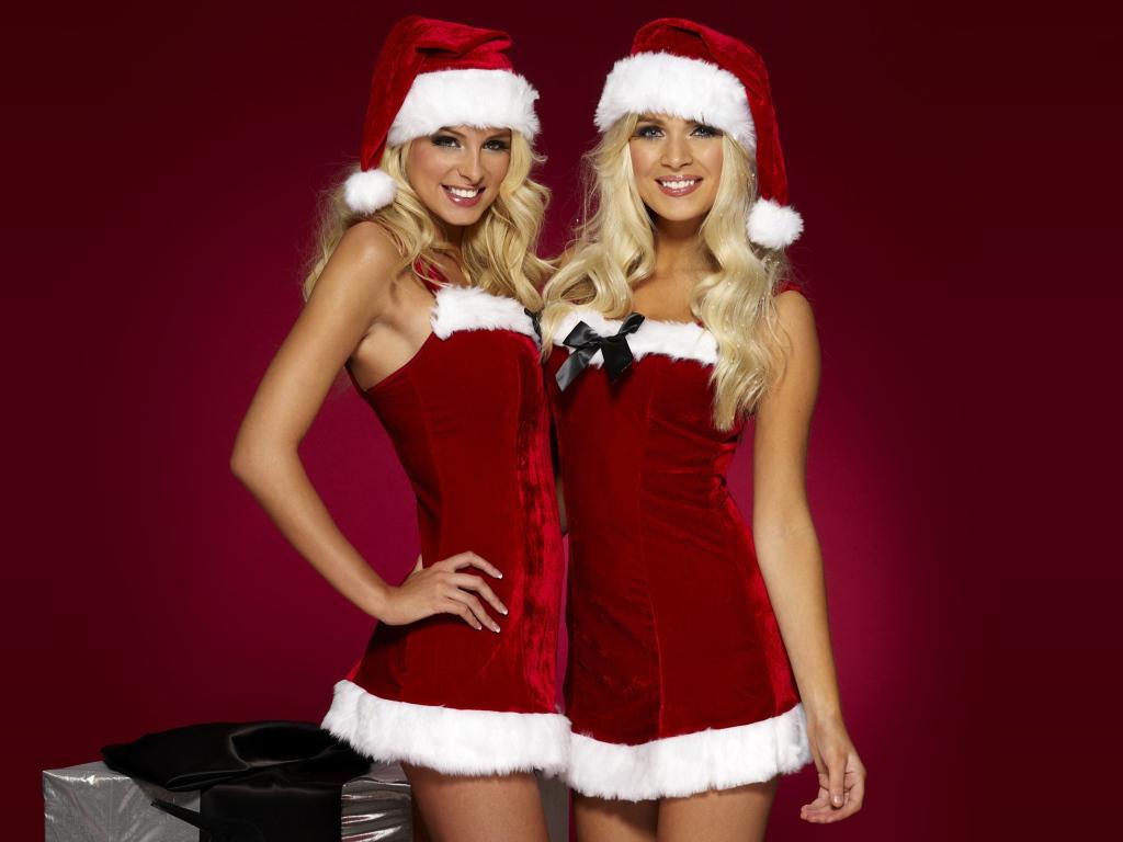 Картинка костюмы, симпатичные, блондинки, новый год, Happy santa girls
