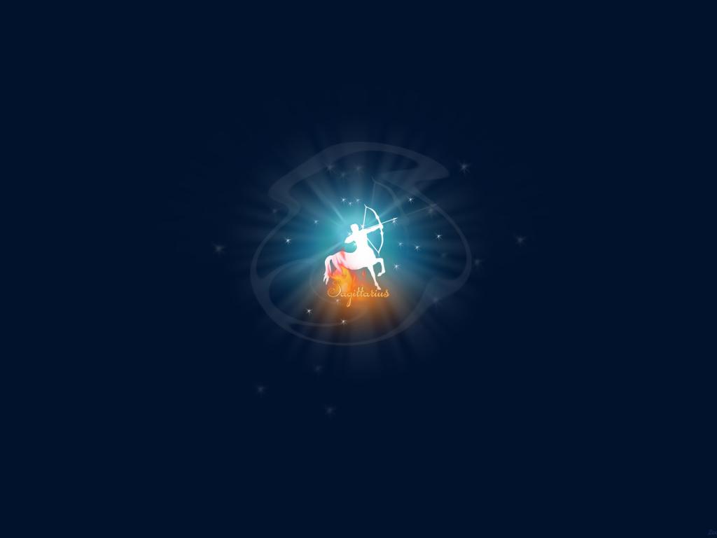 Sagittarius Zodiac Sign On A Blue Background Desktop Wallpapers