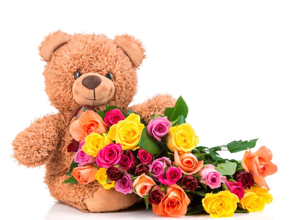 картинки с мишками и цветочками основу фетра