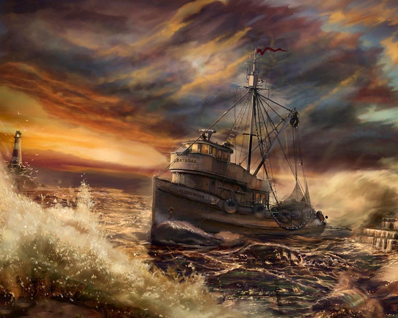 Previous, Drawn wallpapers - Fishing boat wallpaper