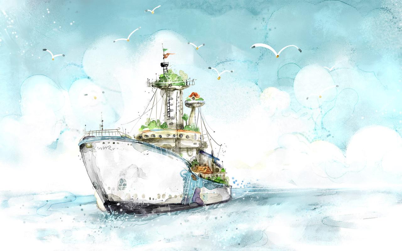 Обои картинки фото рисунок, корабль, чайки.