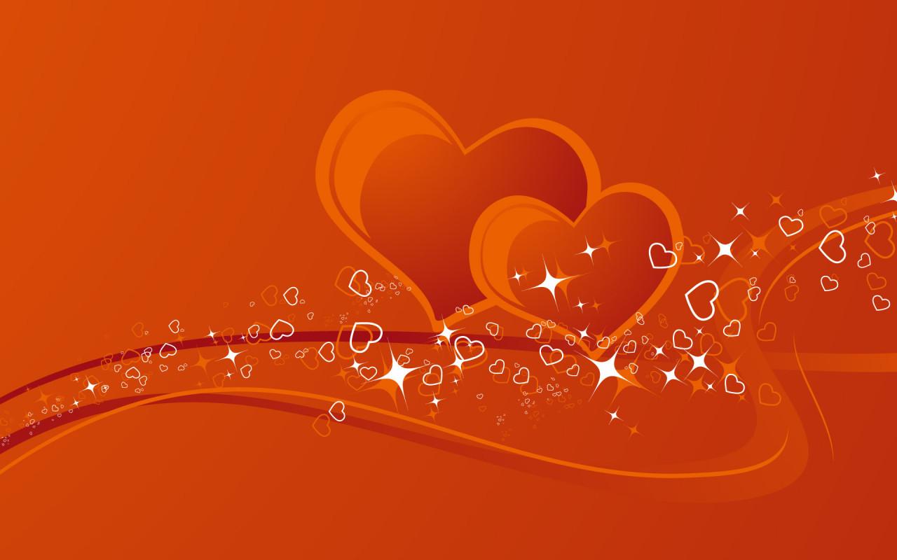 Orange heart desktop wallpapers 1280x800