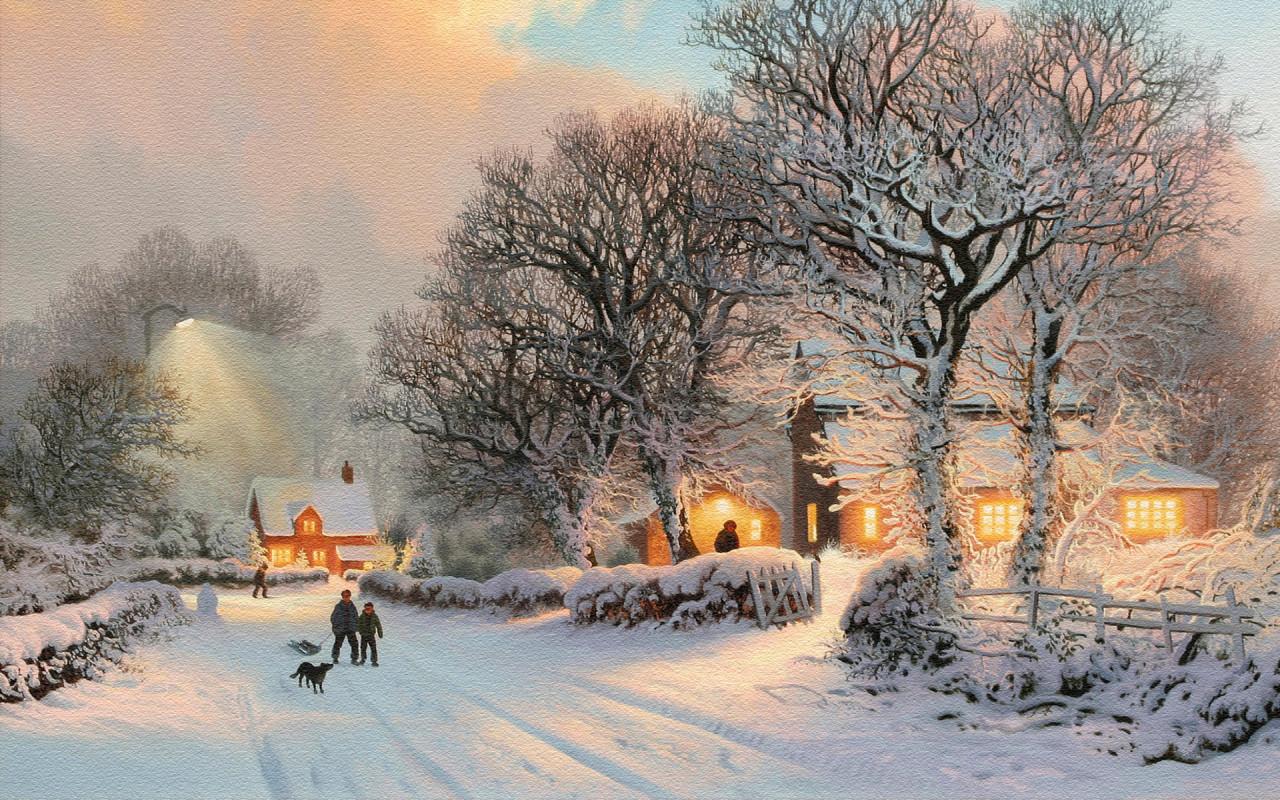 Картинки на рабочий стол Winter_wallpapers_Winter_in_the_village_012257_