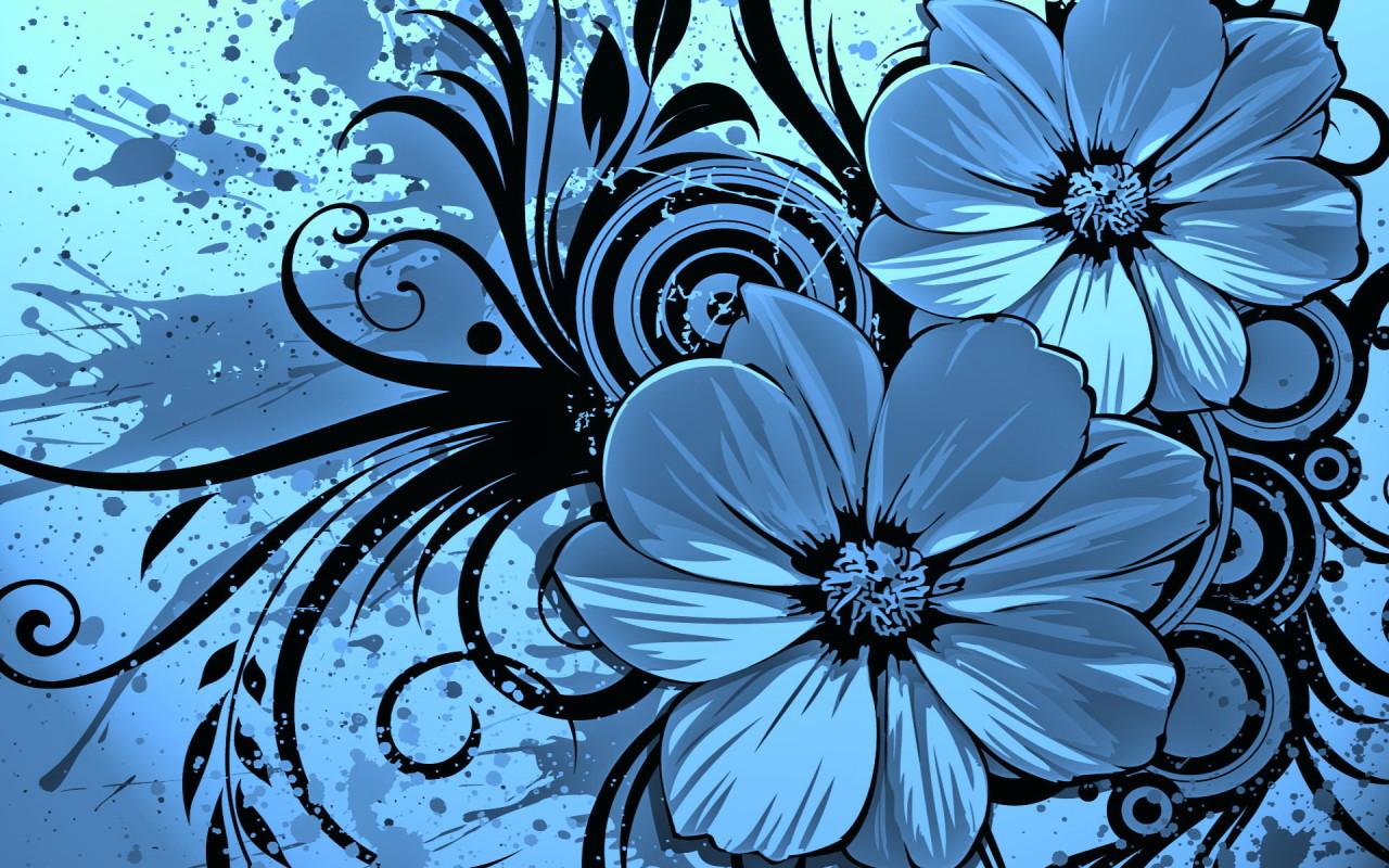 dark blue flowers desktop wallpapers 1280x800