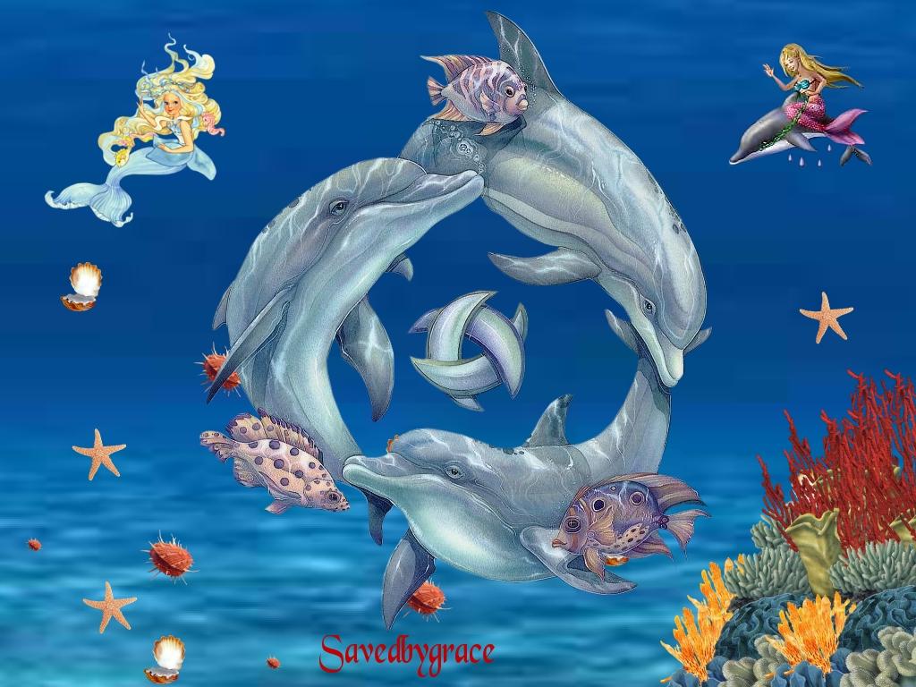 Дельфины сказочные картинки