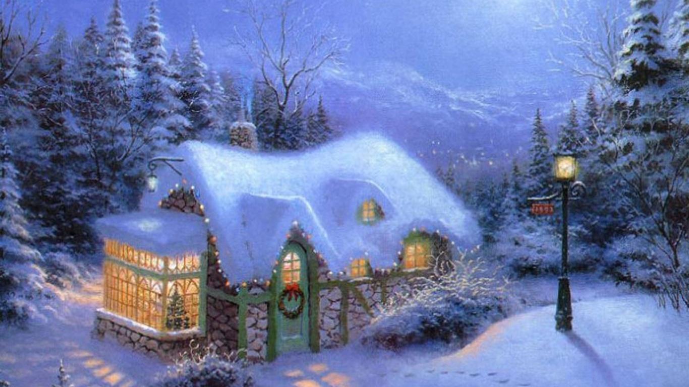 1920x1200 HD Wallpaper Christmas house and snow