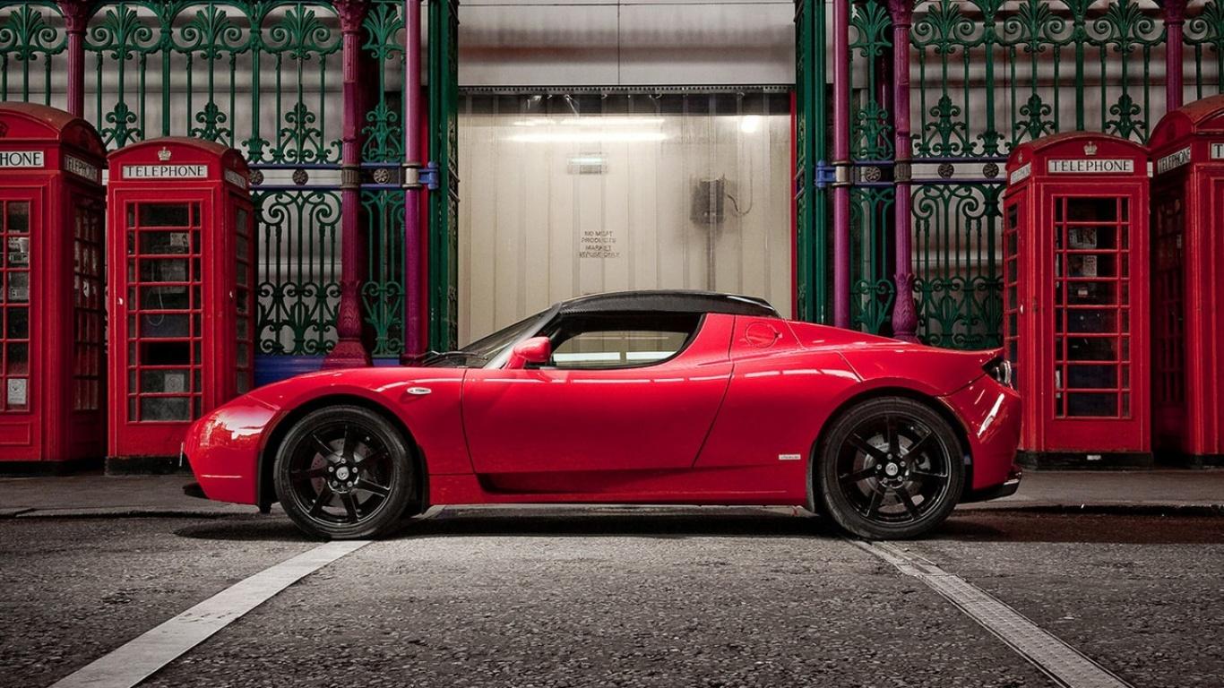 Tesla Roadster Desktop Wallpapers 1366x768