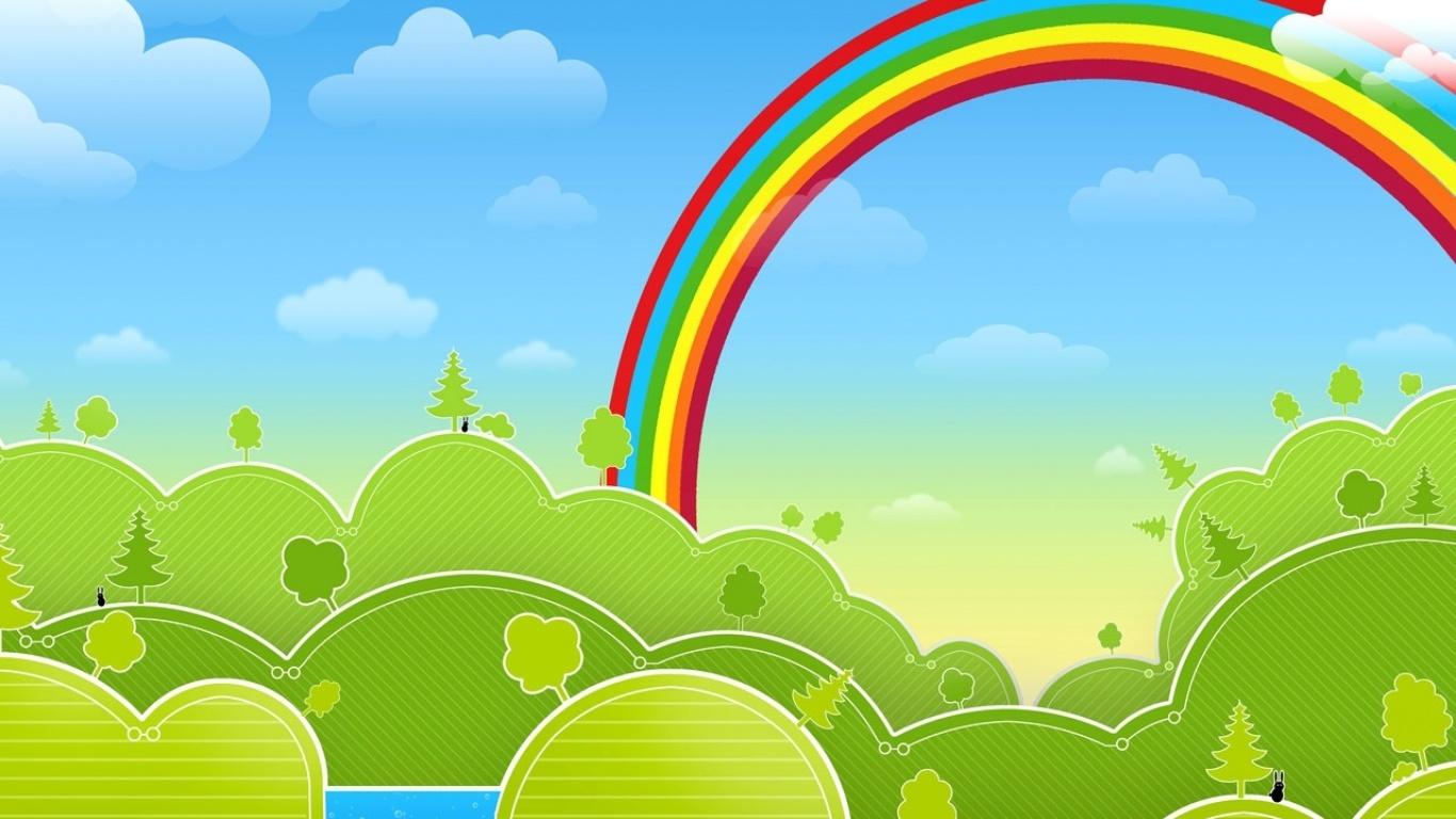 Картинки поляна и радуга