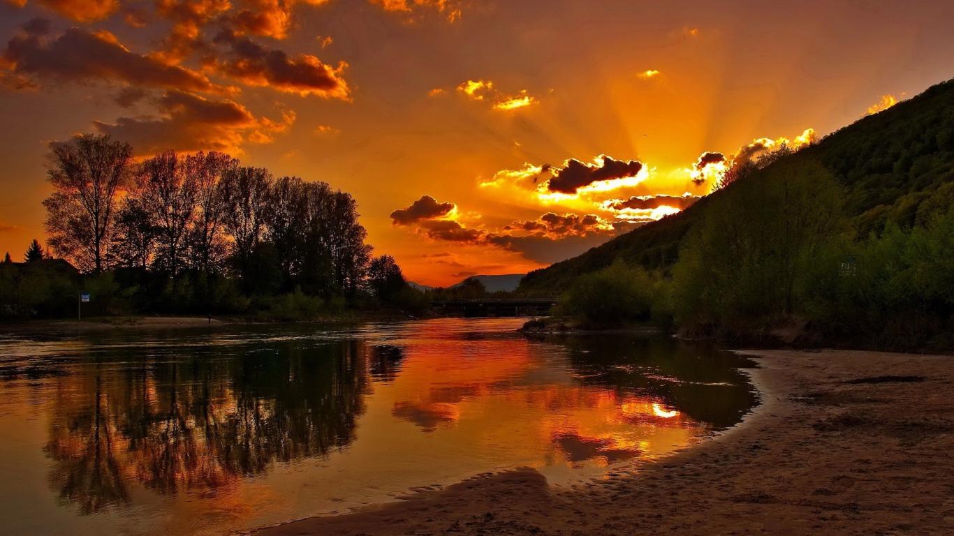 Earth Landscapes Rivers Sunset Wallpaper Desktop Wallpapers