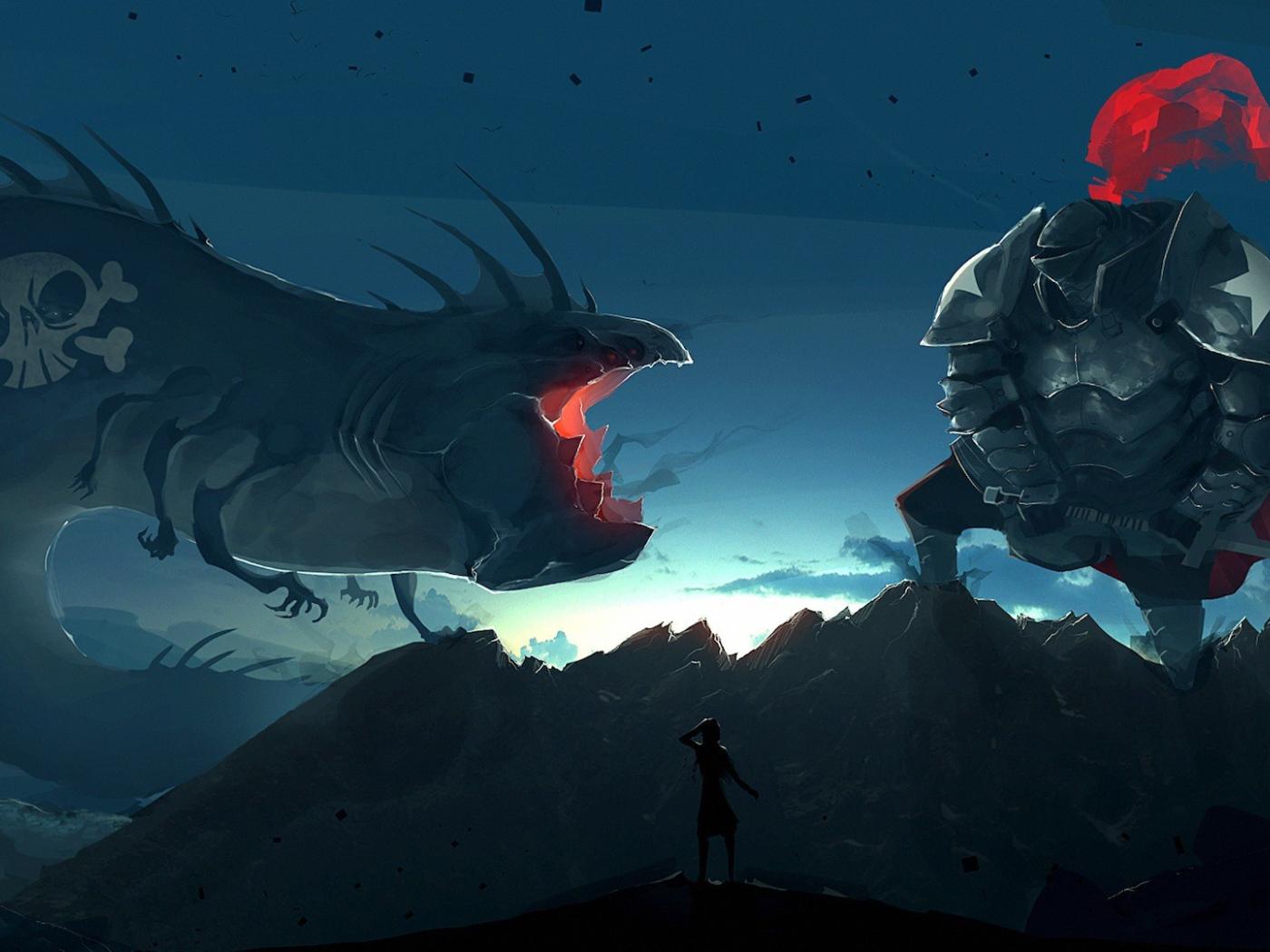 Battle With Giant Monster Desktop Wallpapers 1400x1050