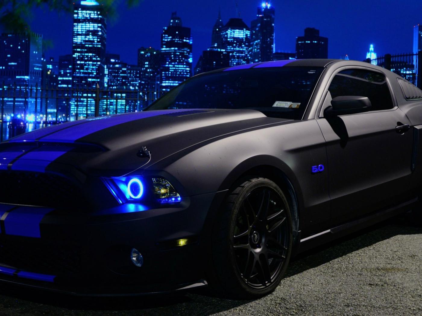 Black Neon Ford Mustang Desktop Wallpapers 1400x1050