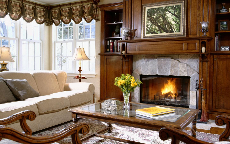 Интерьер дома с камином фото