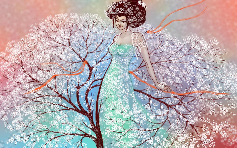 Картинки рисунки, весна девушка в открытках
