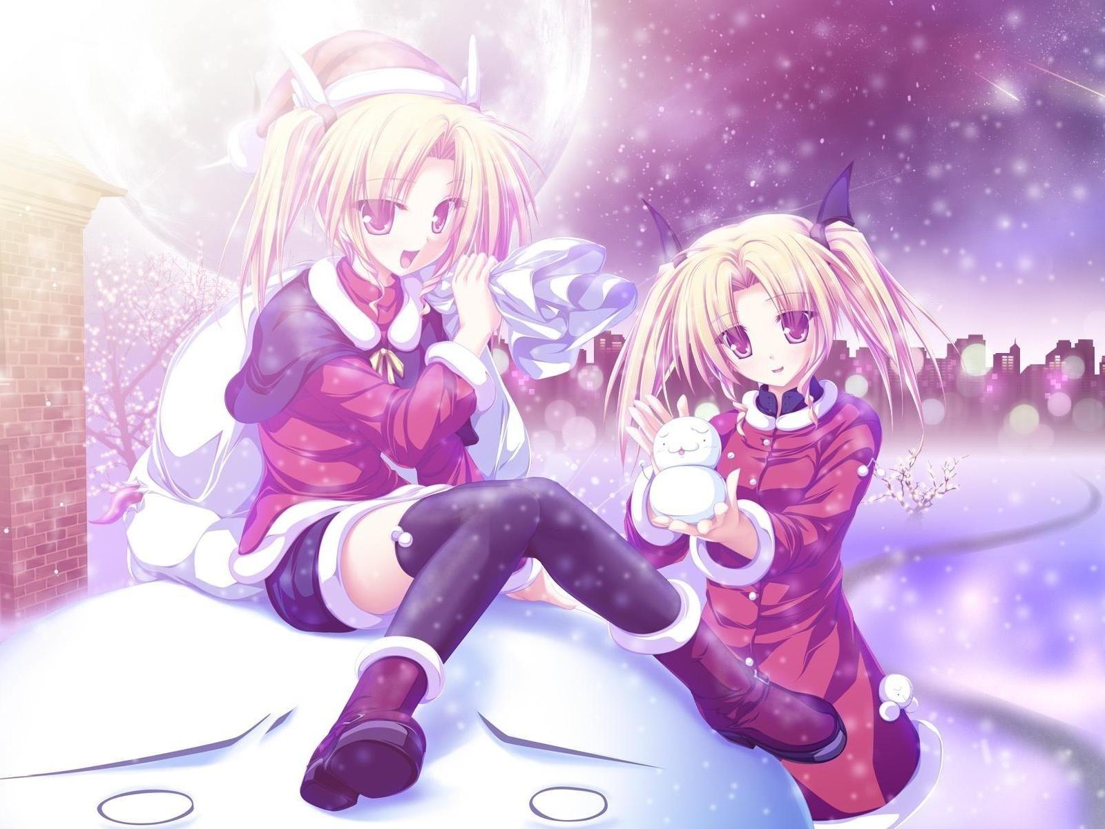 Скачать обои фото картинку на тему девушки, зима, снег, новый год
