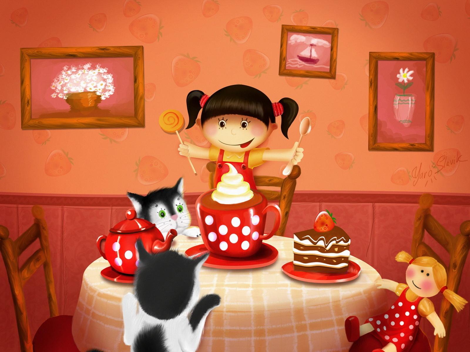 Открытка приходи на день рождения, кружкой чая