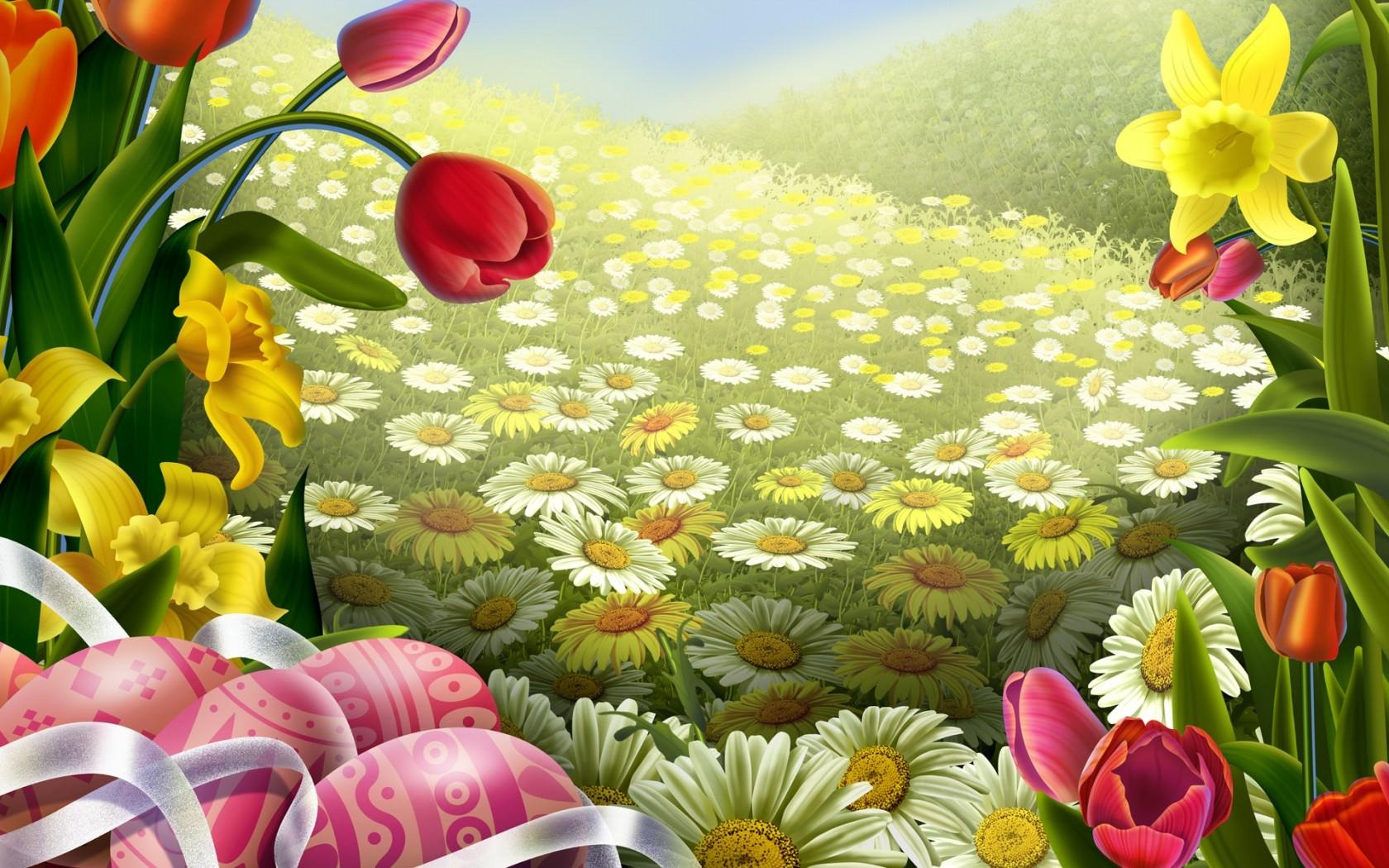 Поляна с цветами картинки рисунок, своими руками