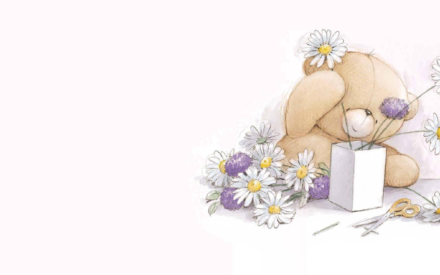 Открытки с мишками с цветами, открытки месяцами жизни