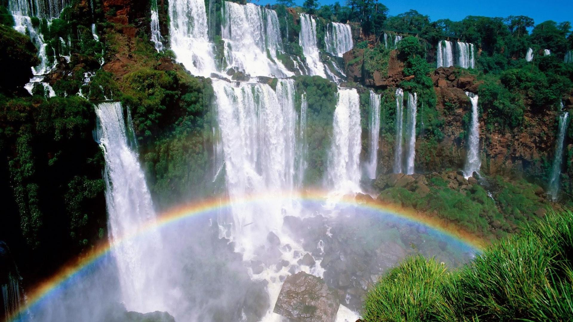 Rainbow Under A Waterfall Desktop Wallpapers 1920x1080
