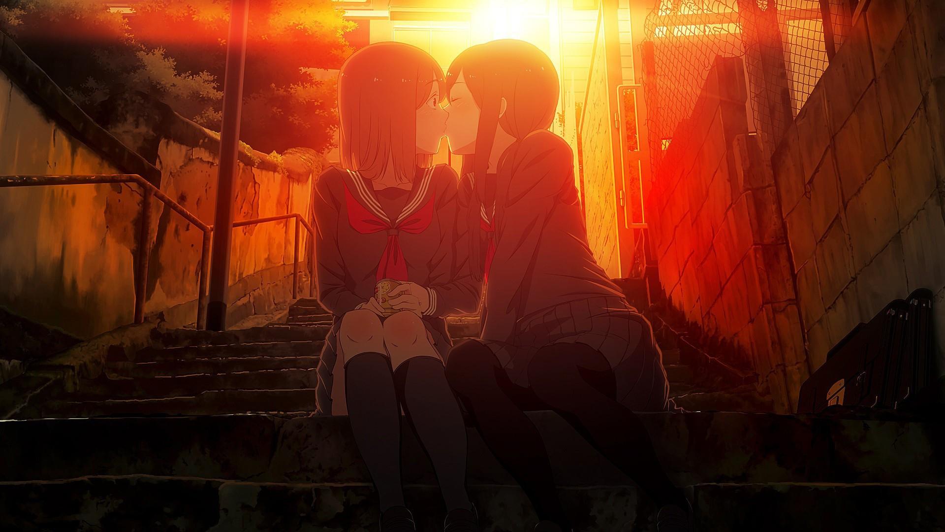 Anime Girls Kissing Desktop Wallpapers 1920x1080