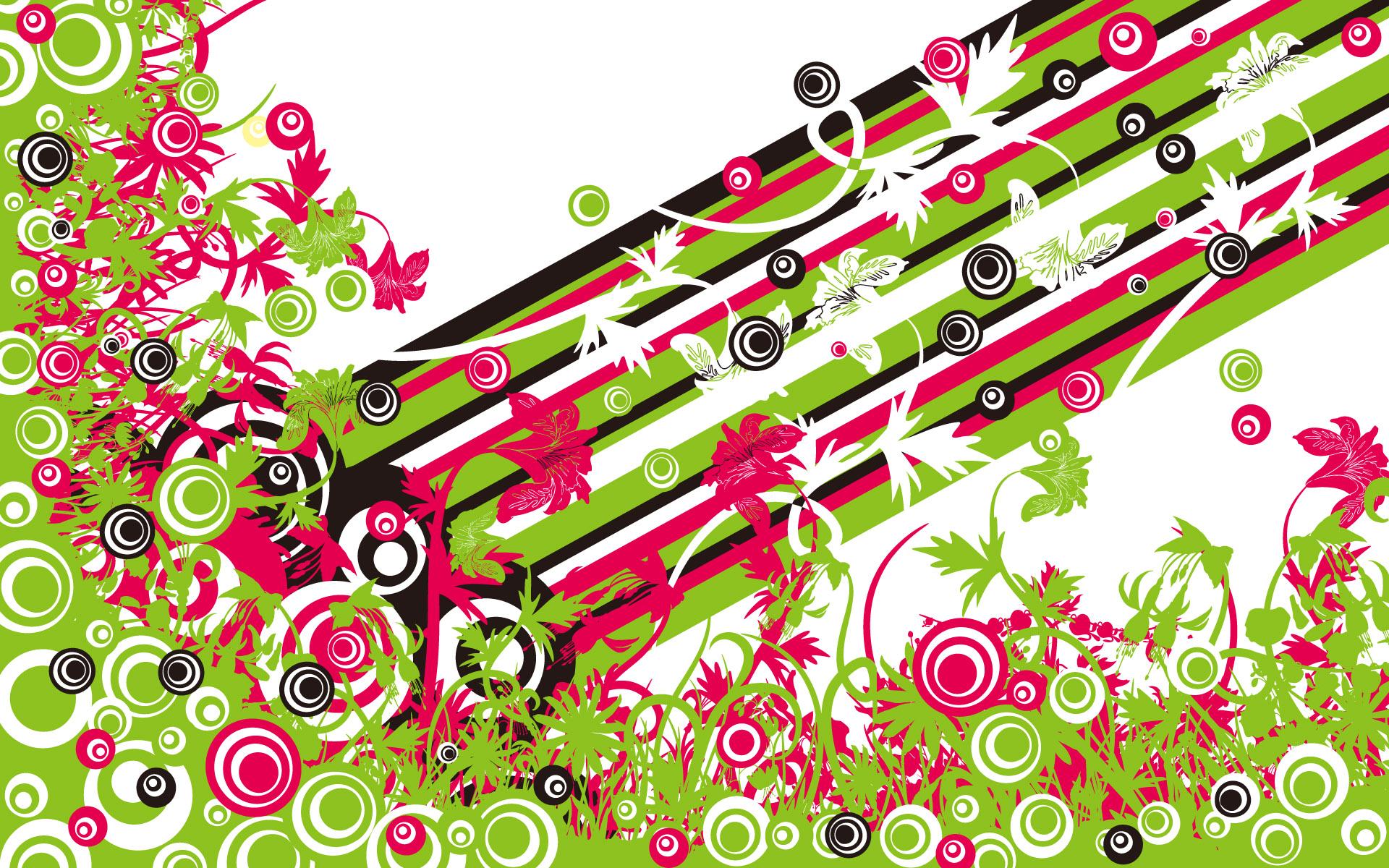 Рисованные обои - Векторные обои - Векторные Цветы и бабочки.