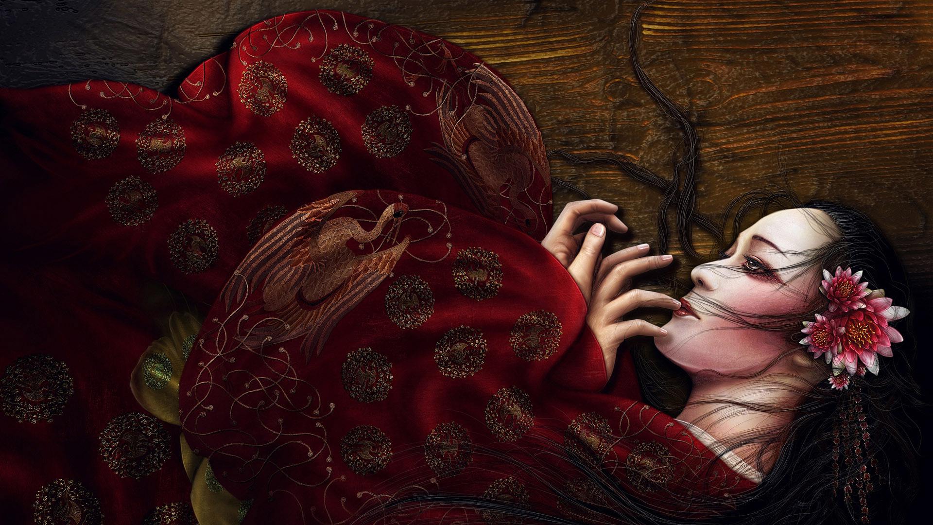wallpaper geisha corals girl - photo #7