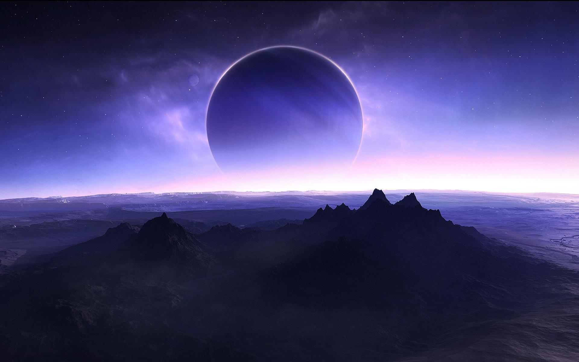 Обои для рабочего стола фото поверхность планеты, спутник, звезды.