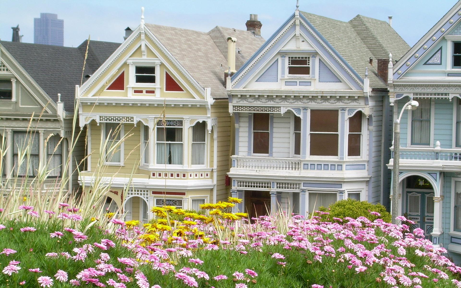потолочный обои на рабочий стол красивый дом с цветами большинстве