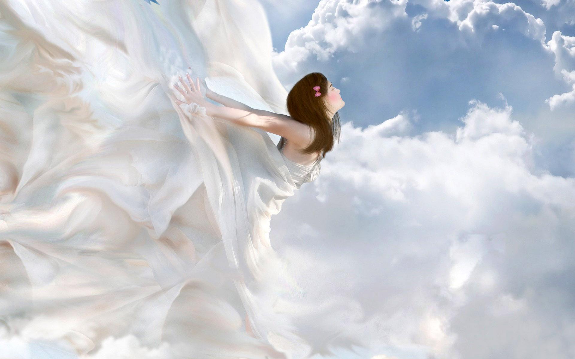 Открытке днем, картинка ангелы на облаках