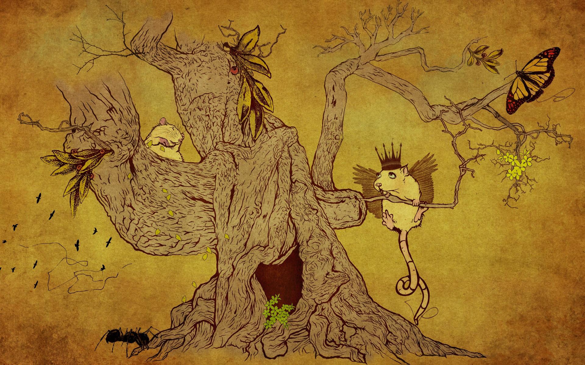 Дерево, животные, рисунок.