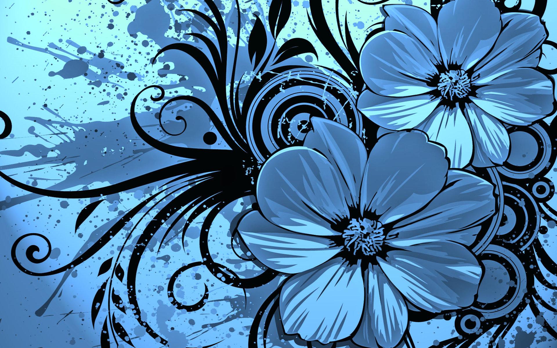 Dark blue floral wallpaper