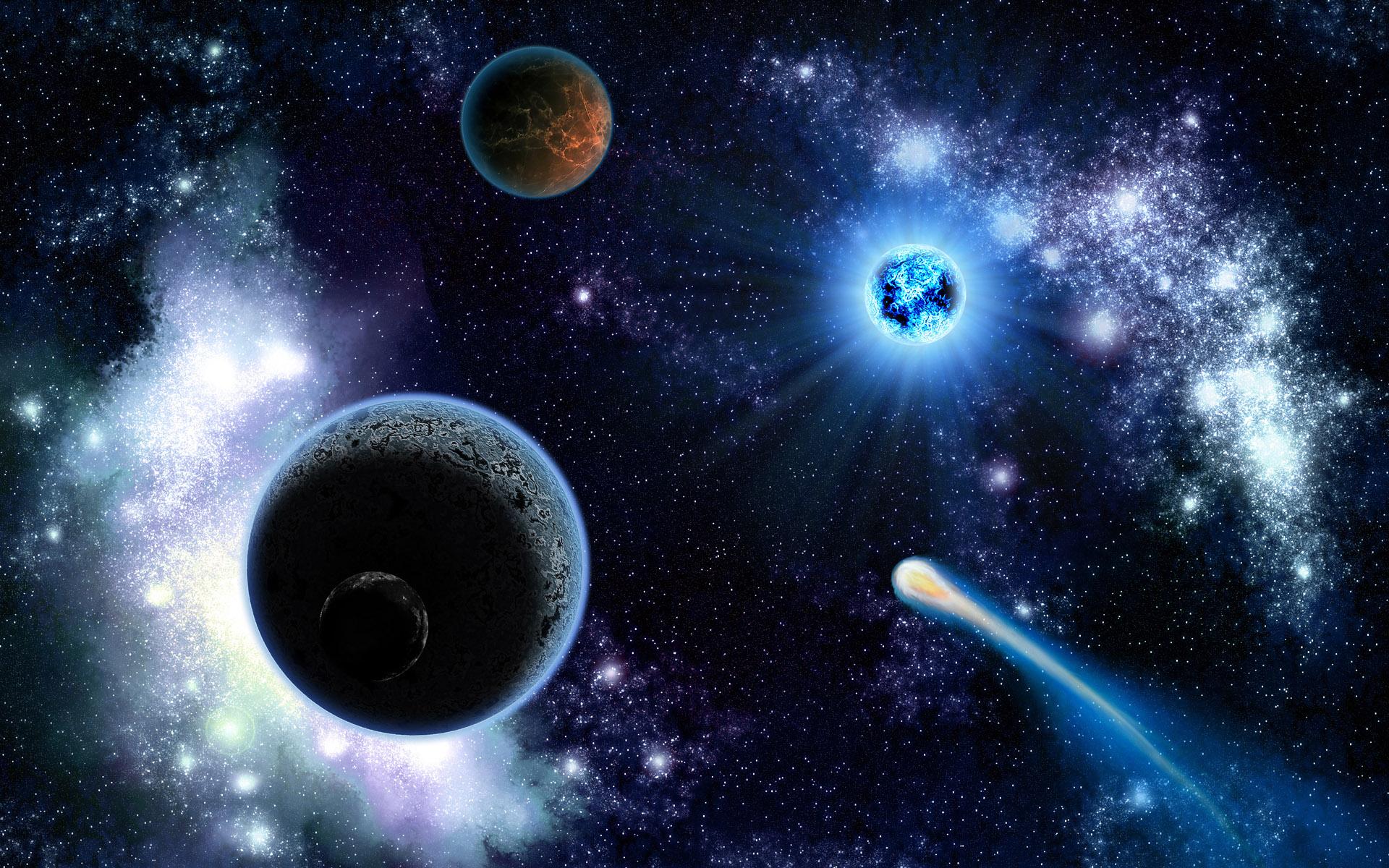 вселенная с кометами картинки этот момент