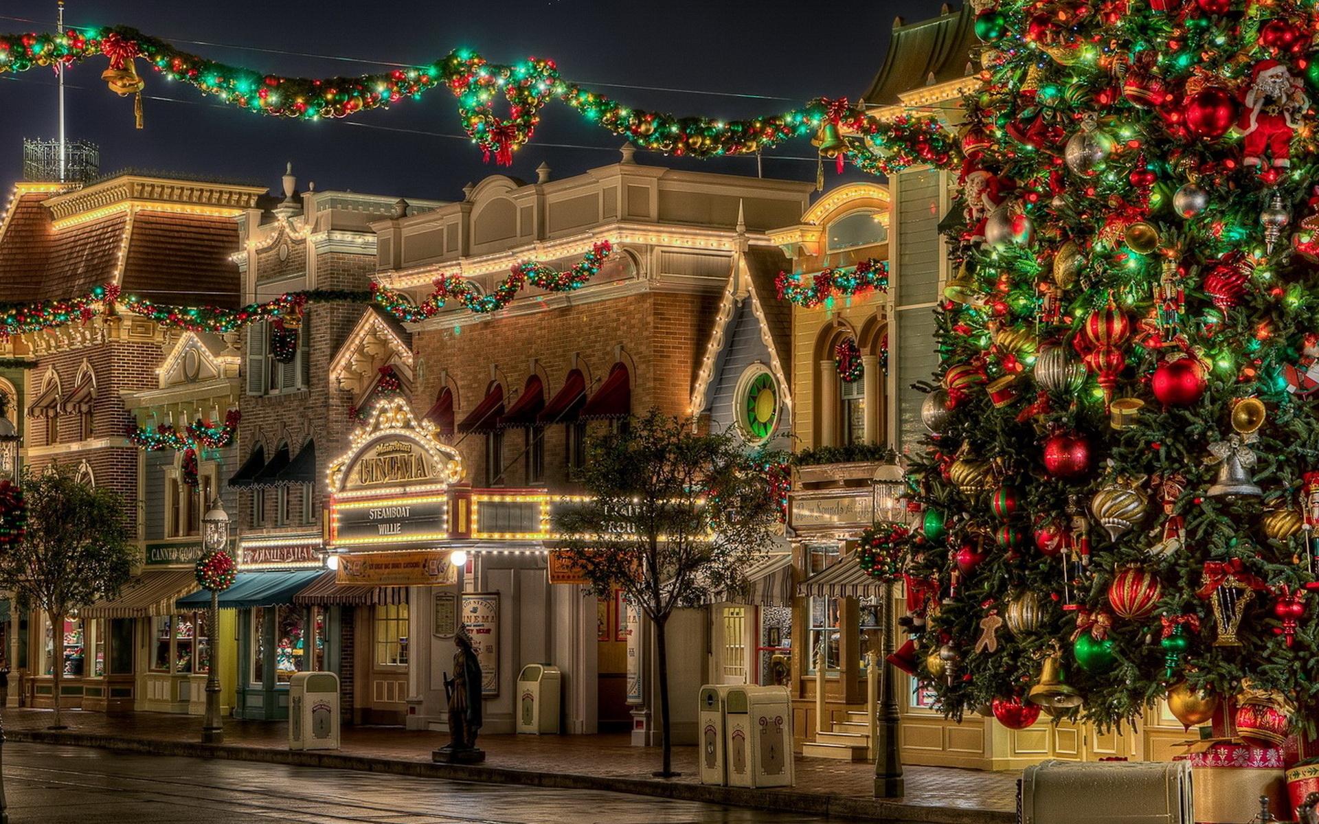 Обои рождественские улицы