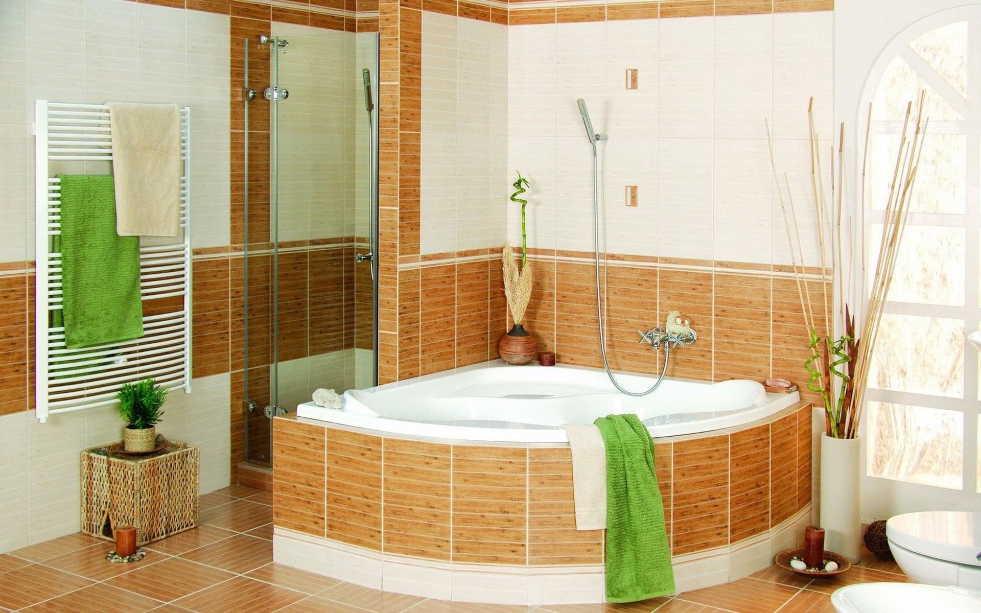 Интерьер ванной комнаты - обои для
