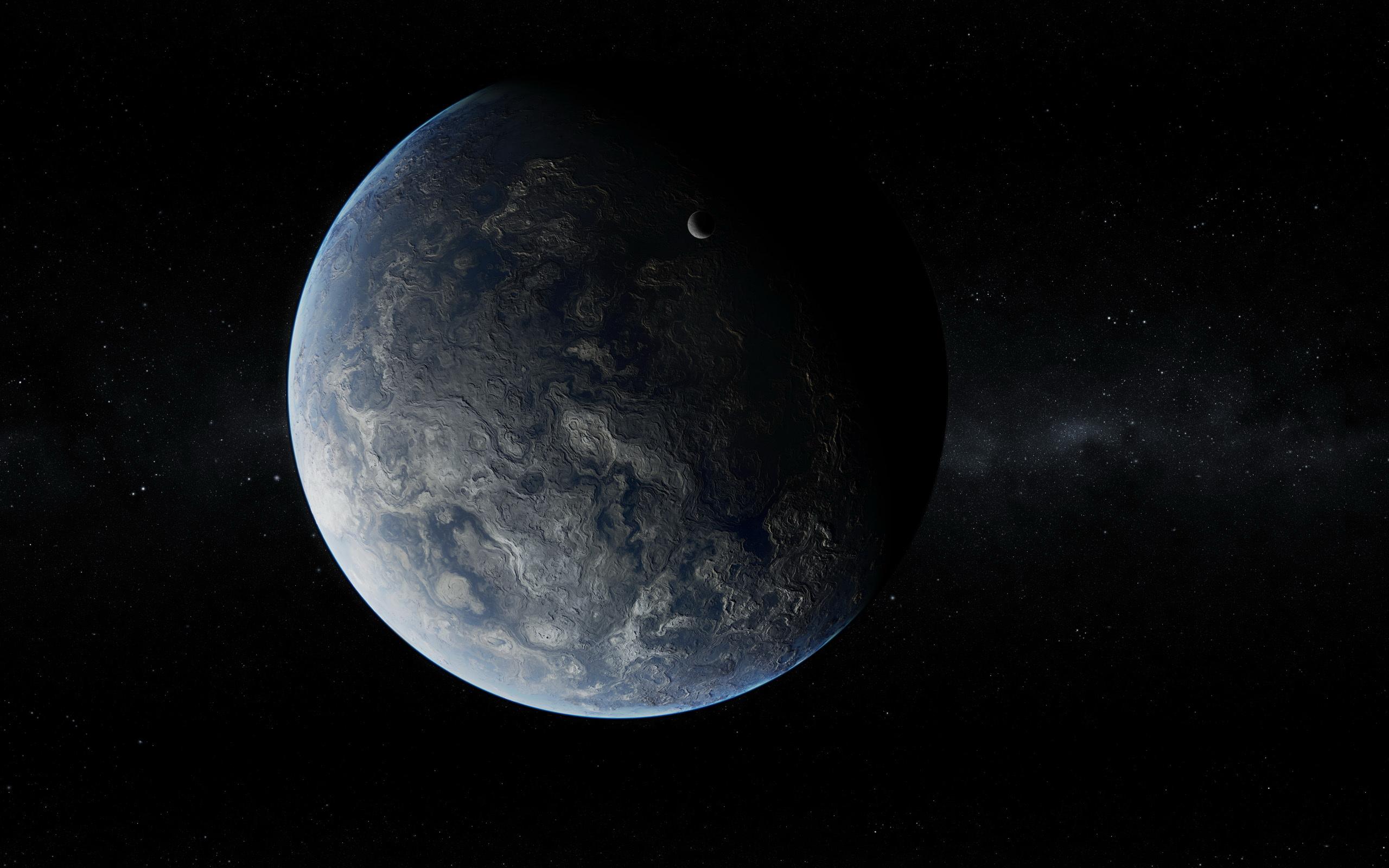 Скачать обои фото картинку на тему планета, спутник, рельеф, звезды