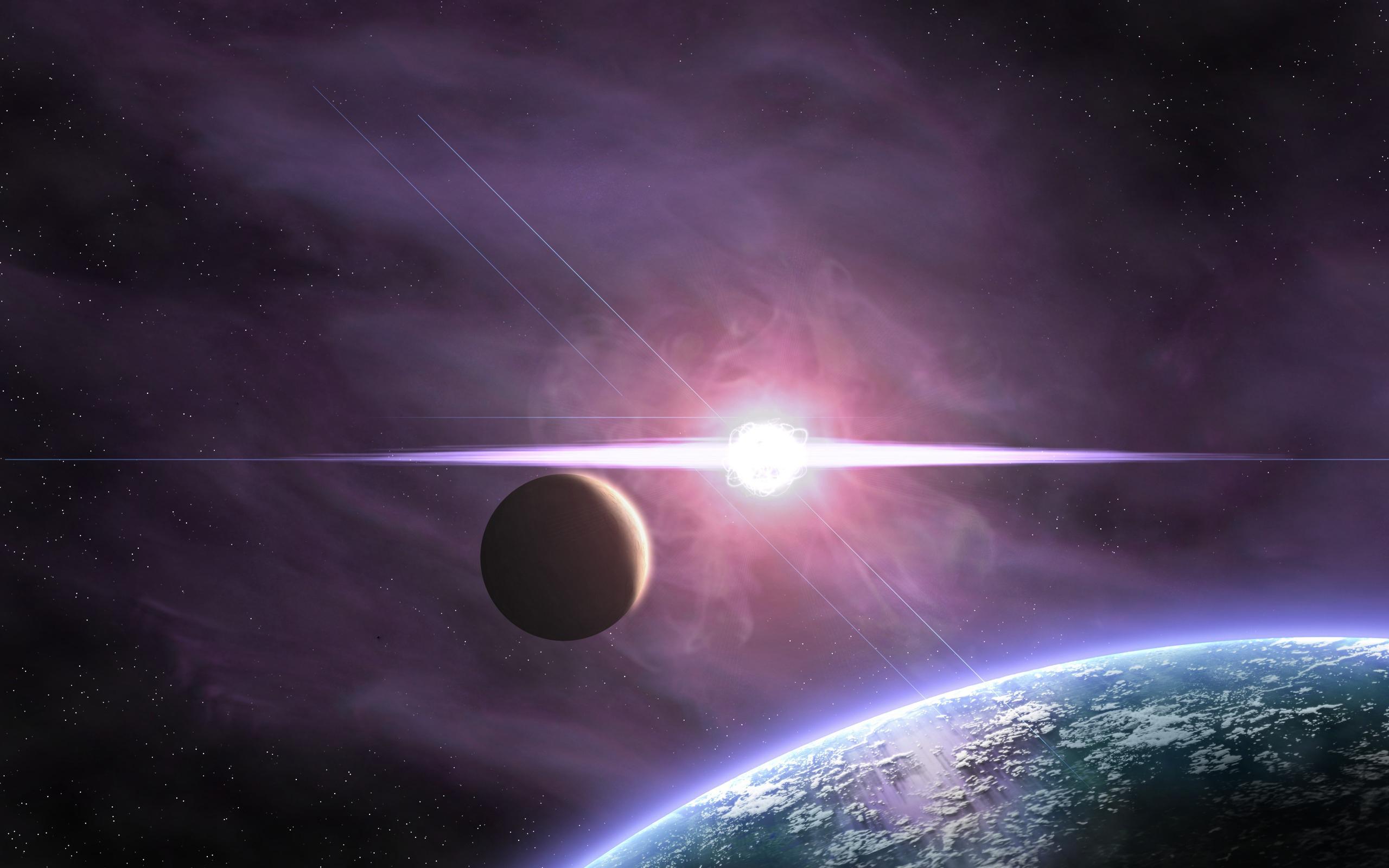 Планета, спутник, звезды, сияние, вспышка, gdefon.