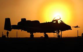 Military aircraft / aircraft at sunset