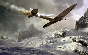 Подбитый пикирующий самолет