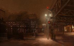 Light snow at night street