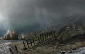 Torrential rain on the coast