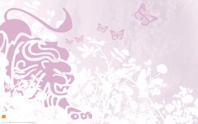Лев и бабочки