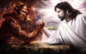 God against a devil
