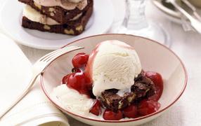 A cake with ice cream