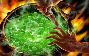 Boiling cauldron on Halloween