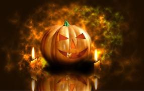 Pumpkin and Candles