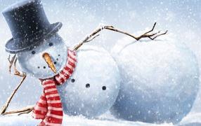 Snowman on vacation