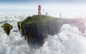 Ветреная мельница на висячем острове