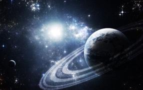 Planet in a blaze of stars