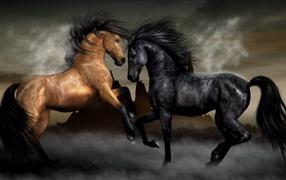 Две лошади черная и коричневая