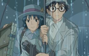 Аниме мультфильм Миядзаки Ветер крепчает, герои под дождём